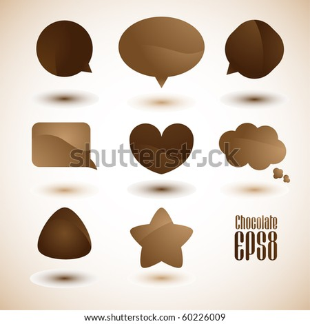 Chocolate and coffee dialog bubbles, Vector.