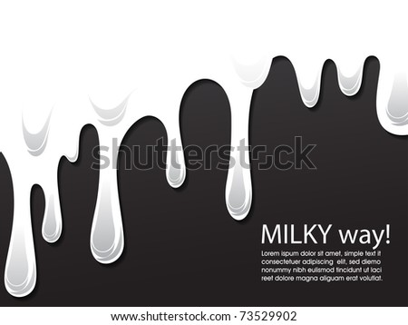 chocolate and milk melting from above, vector editable illustration