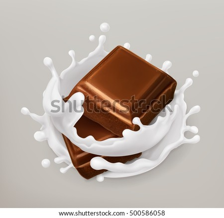 Chocolate and milk splash. Realistic illustration. 3d vector icon