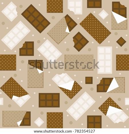 Chocolate and white chocolate bar seamless pattern background