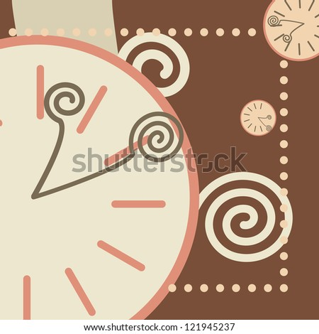 chocolate background with round clock and arrows