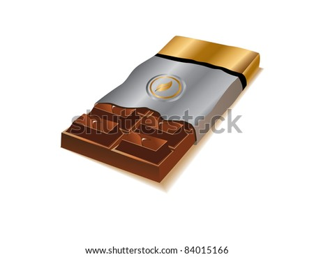 Chocolate Bar A delicious chocolate bar in silver and gold wrapping.