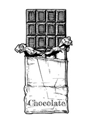 Chocolate bar in foil and wrapping paper. Vector illustration in vintage engraved style.