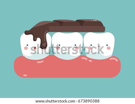 chocolate bar on top of teeth