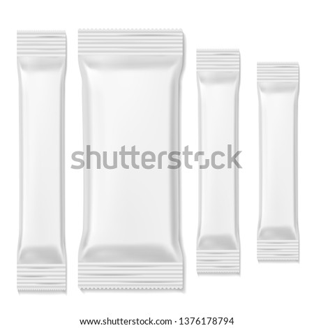 Chocolate bar packs. Biscuits white packing sticks food snacks, stick blank template. Promo realistic wrap packing vector front mockup