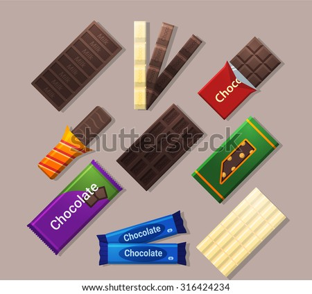 chocolate bars icons in flat
