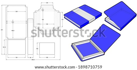 Chocolate box that is shaped like a Book (Internal measurement 18x13x1.8cm) and Die-cut Pattern. The .eps file is full scale and fully functional. Prepared for real cardboard production.