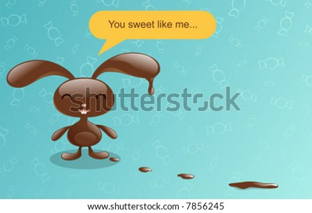chocolate bunny what. stock vector : Chocolate bunny