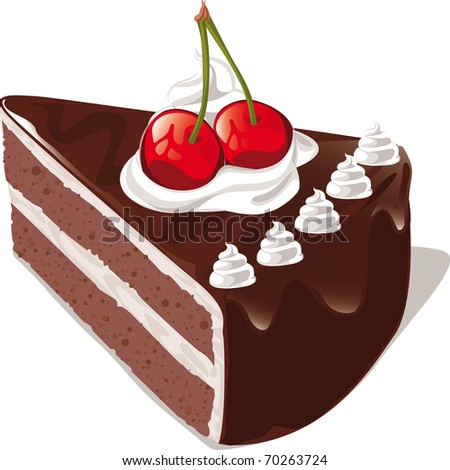 Pice Chocolate Cake Vector Black And White