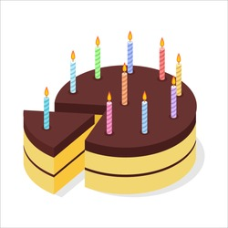 Chocolate cake birthday. Festive candles on pie. Piece of celebratory brownie isometrics. 3D delicious confection