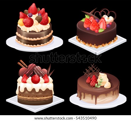 Strawberry Cake Vectors Download Free Vector Art Stock Graphics