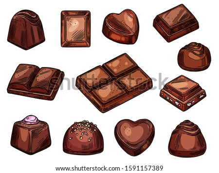 Chocolate candies and sweet desserts sketch isolated icons. Vector choco candies with praline, nuts or cocoa topping, dark bitter and milk chocolate bars, handmade chocolate candy