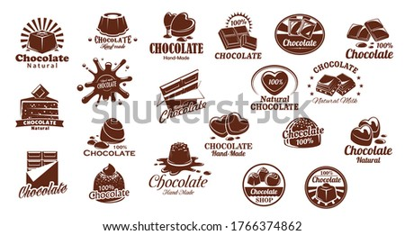 Chocolate candies and sweets vector icons set. Chocolate bar and candy symbols, cocoa cake or cheesecake. Natural, handmade sweets and desserts, pastry shop or confectionery brown icons