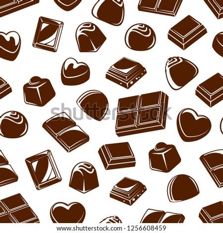 Chocolate candies seamless pattern background with sweet food desserts. Vector truffles and bars with praline, cocoa and caramel, nuts, milk and sugar toppings. Confectionery treats and snacks design