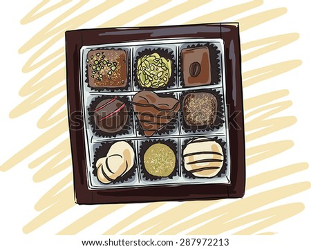 chocolate candy in a box