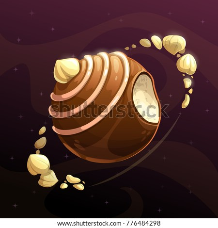 Chocolate candy planet. Fantasy food astronomy concept. Vector illustration.