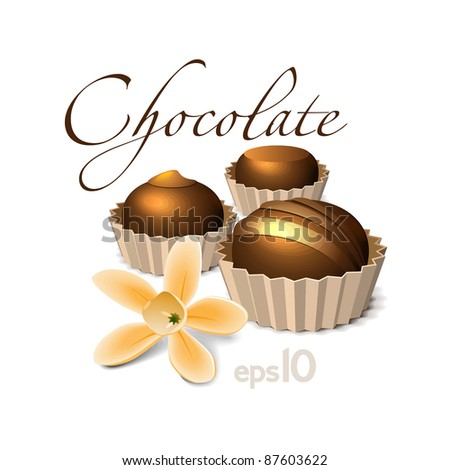 Chocolate Candy With Vanilla Flower