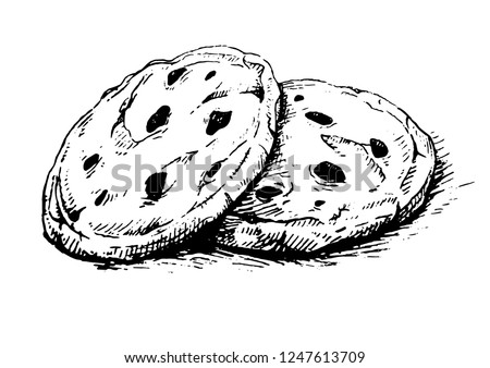 Chocolate chip cookies.Sketch ink graphic  american cookies  illustration.Drawing. Delicious vintage etching food design.Oatmeal sweet dessert.