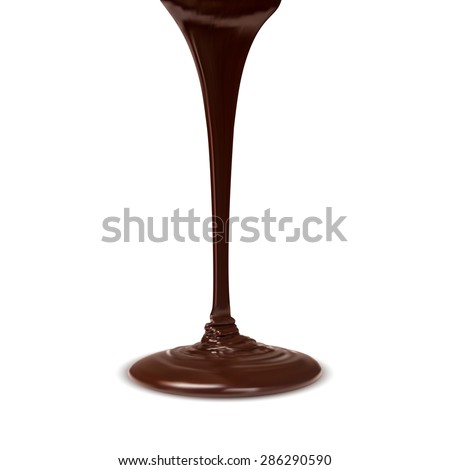 chocolate cocoa flow isolated on white background. vector