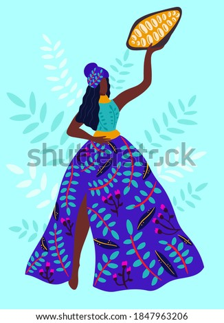 Chocolate collection, hand drawn vector illustration. Woman farmer holds a cocoa beans. Asian cocoa plantation and harvesting. Working on Field. Vintage style
