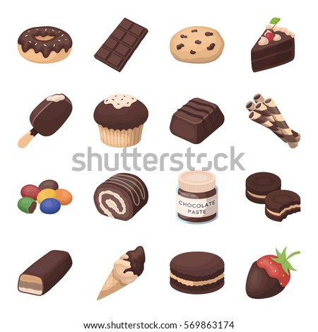 chocolate desserts set icons in