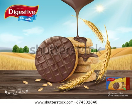 Chocolate digestive biscuits ad, chocolate sauce dripping from sky and cookies isolated on wooden table, wheat field background in 3d illustration