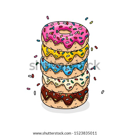 chocolate donut, donut with pink glaze, donuts with lemon, blue mint and white glaze and colored sprinkles.Vector illustration