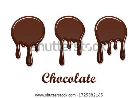 Chocolate drip splash set. Chocolate liquid blot isolated white background. Shape melt dessert spot. 3D realistic stain element. Food decoration. Milk, dark chocolate splashing Vector illustration