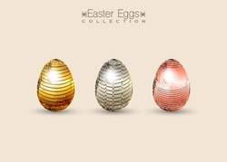 chocolate eggs decorated with gold for Easter. Happy Easter. Set of Easter eggs with different golden color texture. Spring holiday. French pastry chefs design a spectacular Easter. Vector isolated