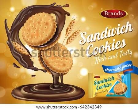 Shutterstock chocolate flavor sandwich cookie ad with packaging and wheat elements, 3d illustration