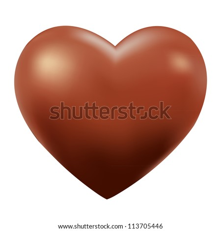chocolate heart  isolated on