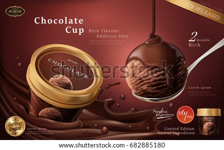 Chocolate ice cream cup ads, a scoop of premium chocolate ice cream with flowing sauce in 3d illustration isolated on scarlet color background