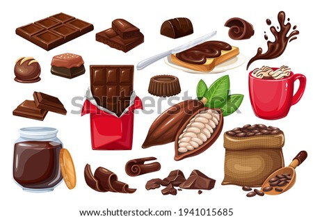 Chocolate icon set. candy, Cocoa Beans, Chips, Chocolate Bar, spred and ets for confectionery products shop.