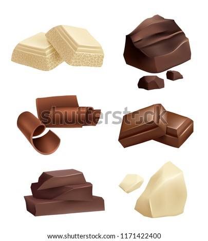 chocolate icon set realistic