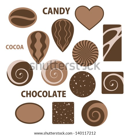 chocolate isolated candies on