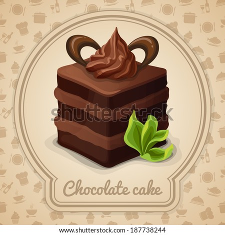 Chocolate layered cake with cream dessert poster in frame and cooking icons on background vector illustration