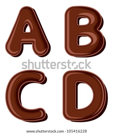 Chocolate letter A B C D isolated on white background