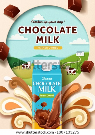 Chocolate milk ad with paper cut farm and splashing milk, 3d illustration