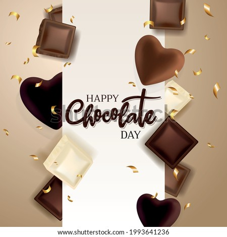 Chocolate pieces and chocolate hearts. Chocolate title. Golden confetti. Happy world chocolate day.  7 july