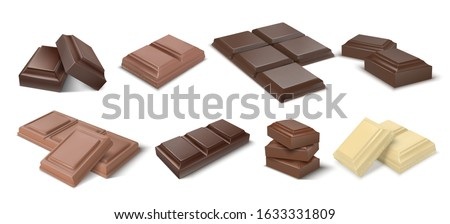 Chocolate pieces. Realistic dark bars and chunks of milky chocolate, 3D blocks of cocoa dessert. Vector square chocolate snacks and white and black candies ストックフォト ©