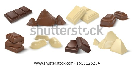 Chocolate pieces. Realistic dark white and milk chocolate bars and candies, chunk of cocoa dessert and square chocolate candy. Vector set sweet cubes pieces dessert cacao eating