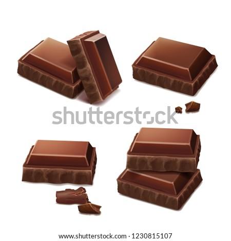 Chocolate pieces realistic illustration