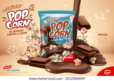 Chocolate popcorn ad, pouring liquid chocolate on popcorns and chocolate pieces design element in 3d illustration