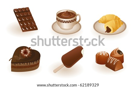 Chocolate products. High quality vector icon