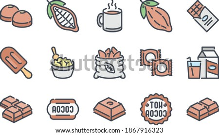 chocolate related color line icon set