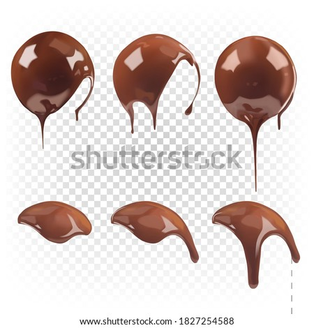 Chocolate sauce, ganache, liquid melted chocolate pouring into a round shape. Vector realistic set.