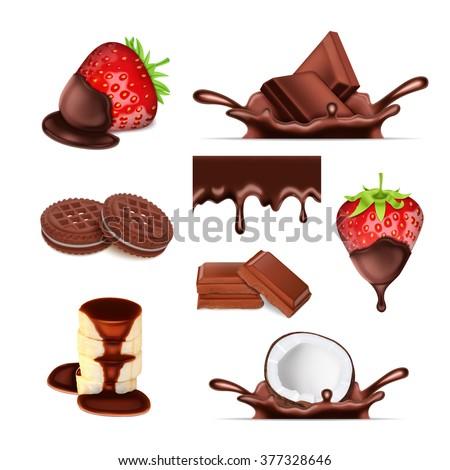 chocolate set sweet vector