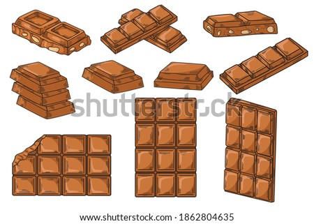 Chocolate set. Whole chocolate bar, pieces of chocolate, chocolate with nuts in isolate on a white background.Vector illustration.