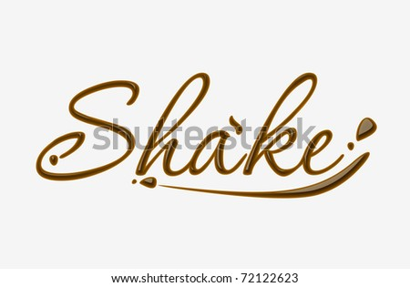 Chocolate shake text made of chocolate vector design element.