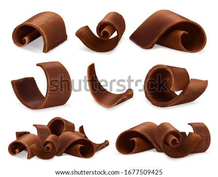 Chocolate shavings 3d realistic set, vector objects food illustration